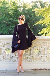 dress,bell sleeve dress,bell sleeves,mini dress,short dress,black dress,long sleeve dress,sunglasses,black bag,bag,nude pumps,pumps,pointed toe pumps,party dress