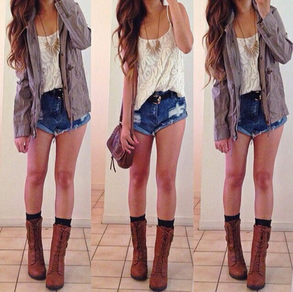 pants jeans denim hot short top girl blue vintage coat blouse jewels shoes shorts jacket style navy cowboy boots white pretty cape t-shirt lace lace shirt lace top ripped shorts cut offs summer shorts bag outfit summer outfits summer summerish inspiration