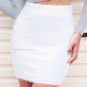 skirt dolly girl  fashion wool white short fluffy furry dgf winter outfits fall summer season fall season new arrivals