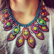 jewels,neon,statement necklace,colorful,bright,multicolor jewel,cute,beautiful