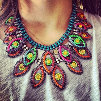 jewels neon statement necklace colorful bright multicolor jewel cute beautiful