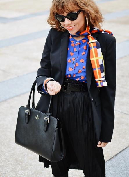 mysmallwardrobe blogger jacket skirt belt shoes bag blouse scarf sunglasses jewels blazer fall outfits handbag silk scarf black bag black skirt pleated skirt