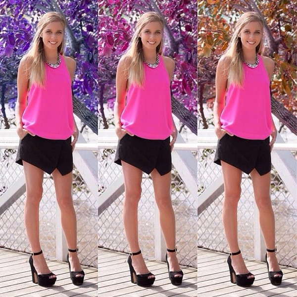 skirt crossover black pink top blouse shirt neon neon pink