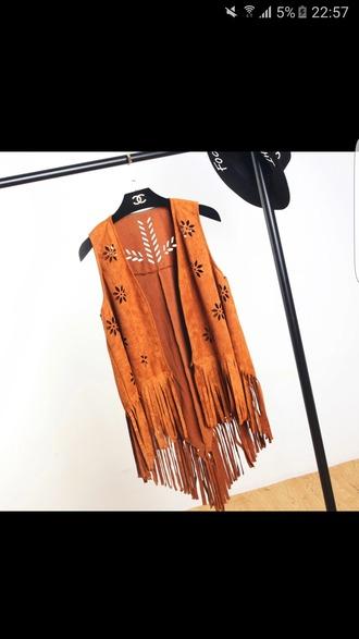 cardigan fringes orange chanel