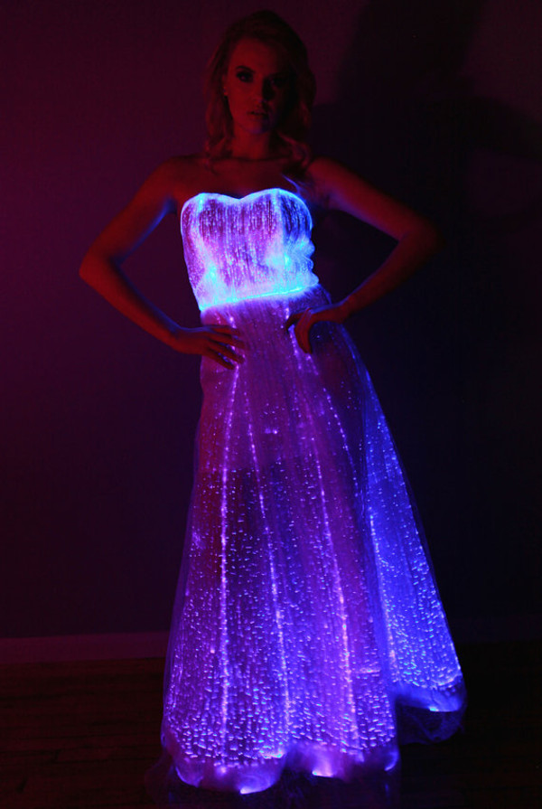Fiber Optic Gown Dress Color Changing Lights With Remote For Wedding Prom Evening Wear