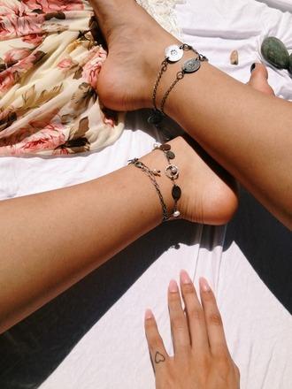 jewels anklet vintage bracelt bracelets feet jewelery feet accesoires hippie boho peace happiness greatful nees beach hip like heart bracalet