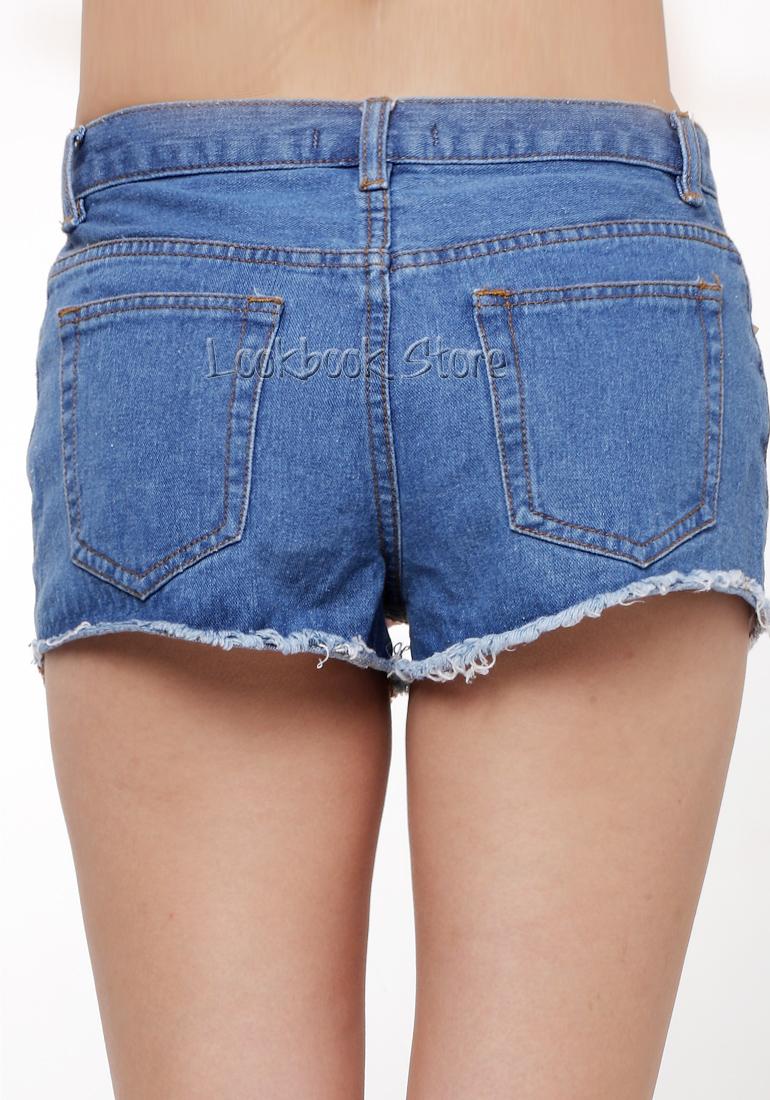 Women american flag middle rise denim shredded cuff cutoffs shorts hot pants
