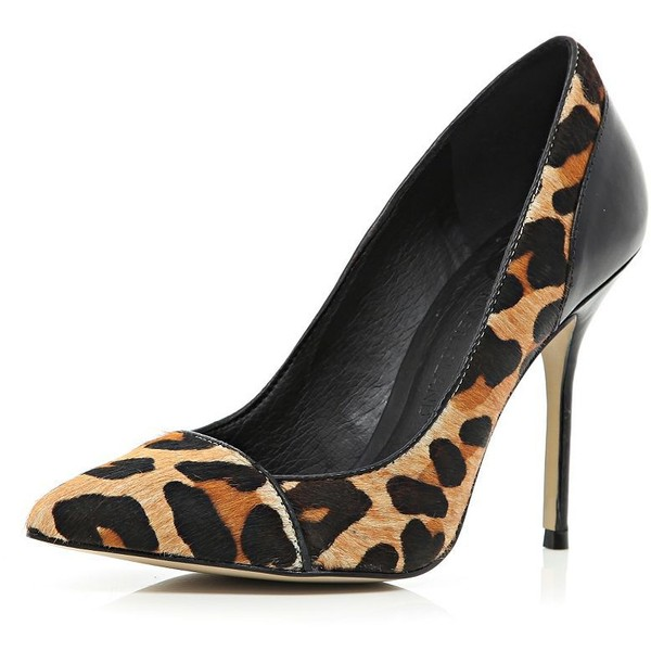 River Island Brown leopard print pony skin court shoes - Polyvore