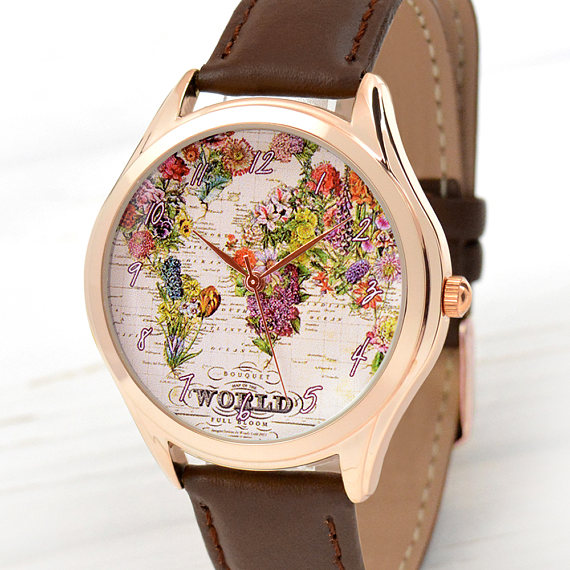 Gold flower map watch womens watch traveler gift world map rose gold flower map watch womens watch traveler gift world map women watches gumiabroncs Image collections