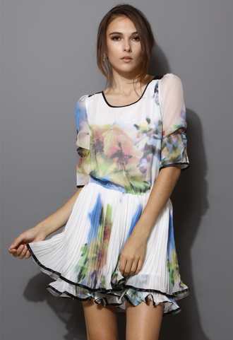 dress women blogger white dyed floral chic mid-sleeves
