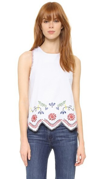 blouse embroidered white top