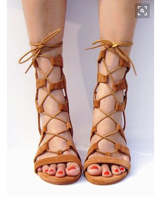 shoes suede suede shoes sexy shoes sandals flat sandals strappy sandals cute sandals brown lace up lace up sandals clothes summer outfit lace