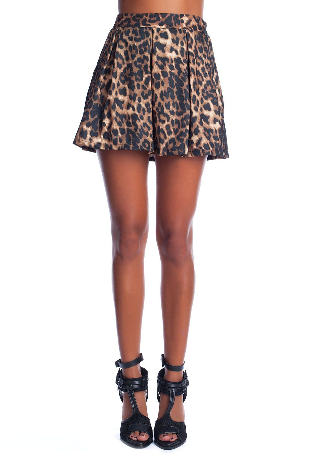 Brown skater skirt in leopard print - Q2 Shop - Tienda de moda online