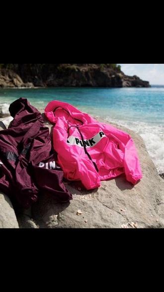 jacket windrunner victoria's secret burgundy sweater