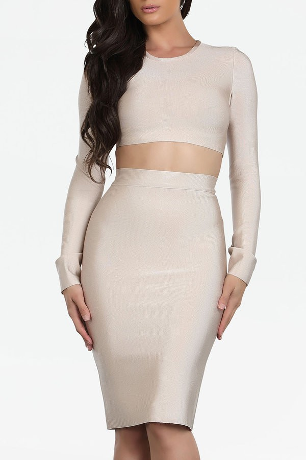 Malene nude 2 piece bandage dress