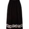 Black wool high-waist embroidered skirt