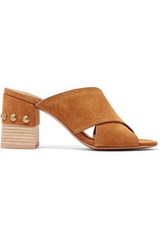 studded mules suede shoes