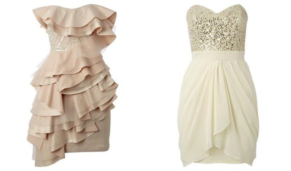 sequined nude bustier dress ruffles cocktail dress nude dress