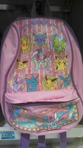 bag,backpack,knapsack,pink,pastel,pastel pink,baby pink,pokemon,pale,light pink,kawaii,cute,soft grunge,grunge,it's pink with pokemon it looks very kawaii