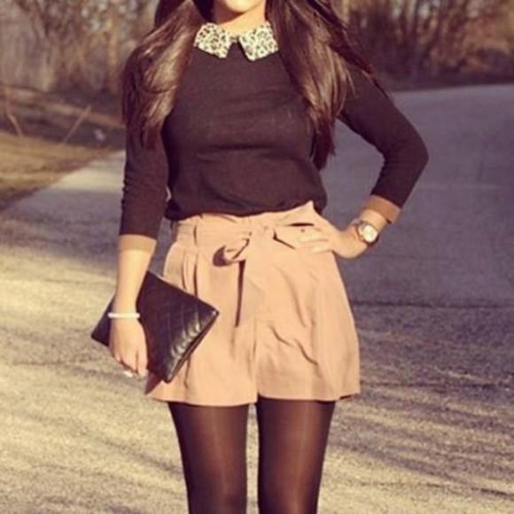 pink shorts blouse top black collar blouse