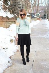 poor little it girl,blogger,sweater,pleated skirt,black skirt,aqua,embellished,skirt,tights,bag,jewels