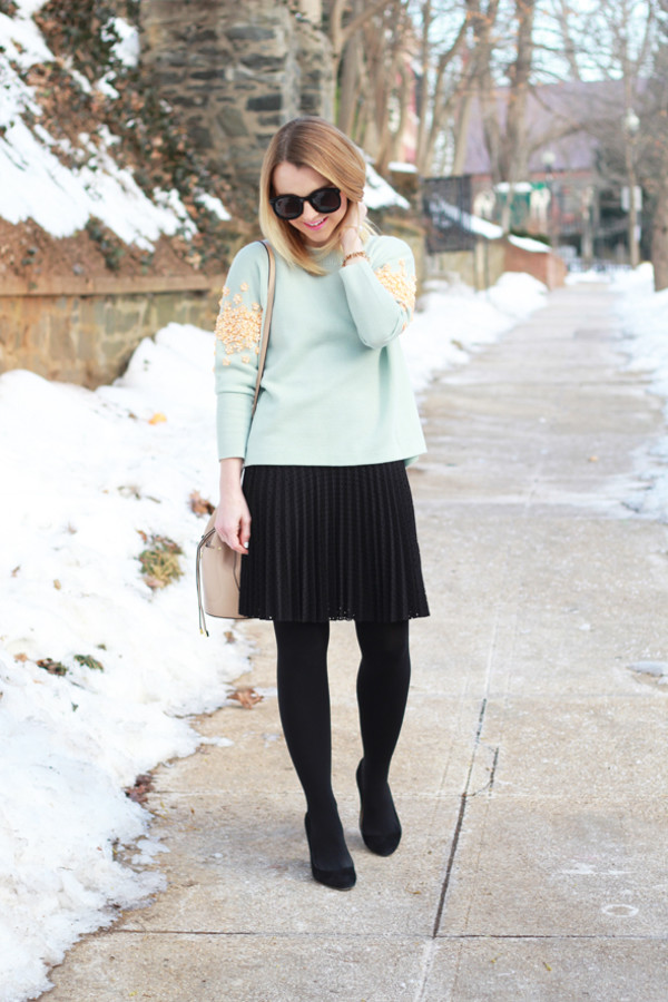 poor little it girl blogger sweater pleated skirt black skirt aqua embellished skirt tights bag jewels
