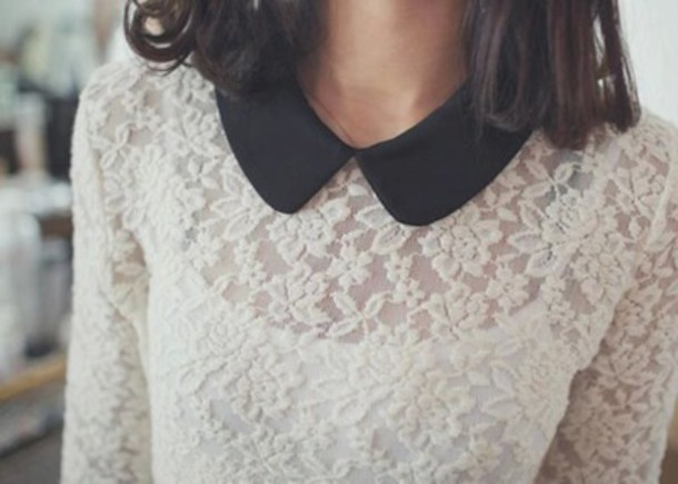 shirt blouse collar shirt white black lace