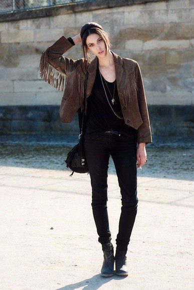 fringe jacket leather jacket leather hipster fall outfits