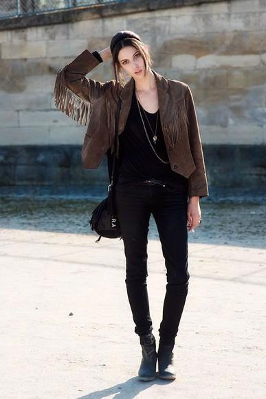 jacket leather leather jacket fringe hipster fall outfits