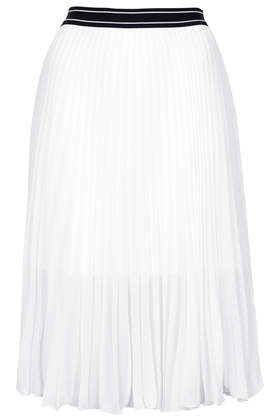 Sport Waistband Pleat Midi Skirt - Topshop