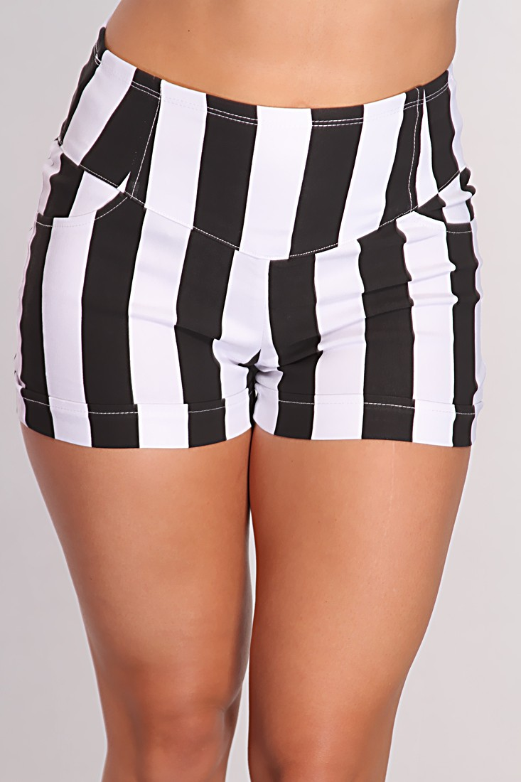 White Striped High Waist Shorts @ Amiclubwear Shorts,Women's ...