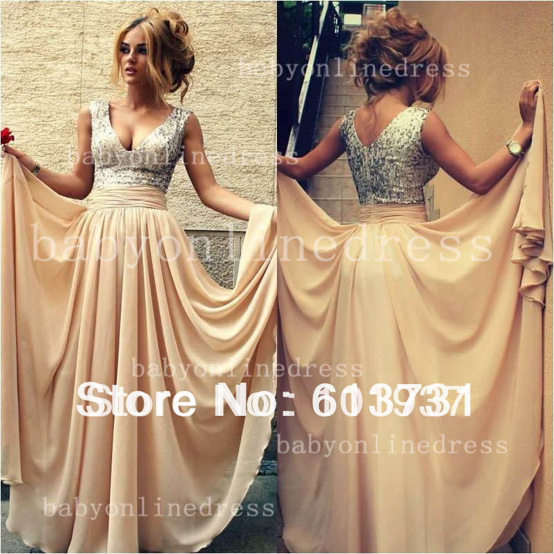 Best selling new arrival tank v neck nude chiffon a line sequined top special occasion dress for prom party evening bo3389