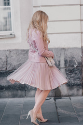 skirt,tumblr,midi skirt,pleated,pleated skirt,pink skirt,jacket,pink jacket,all pink wishlist,all pink everything,pumps,pointed toe pumps,high heel pumps,bag,pink bag,spring outfits