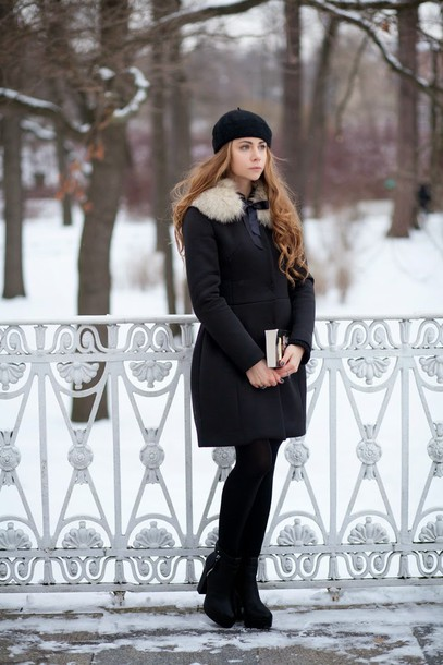 acid coke blogger beret winter coat coat skirt shoes