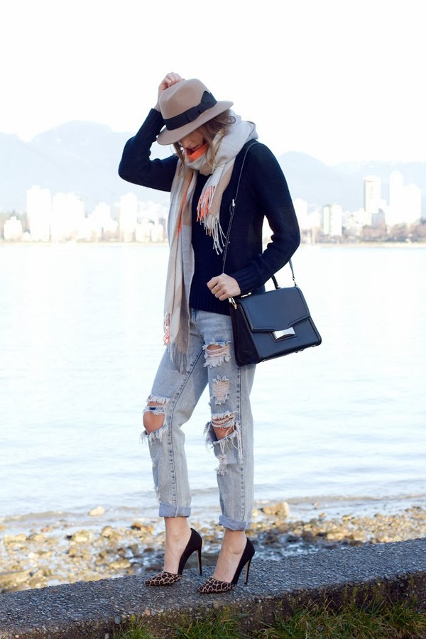 styling my life hat sweater scarf jeans bag shoes jewels