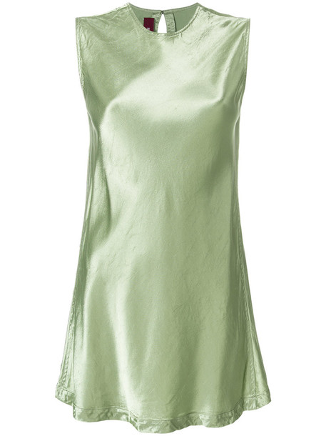 blouse sleeveless metallic women silk green top