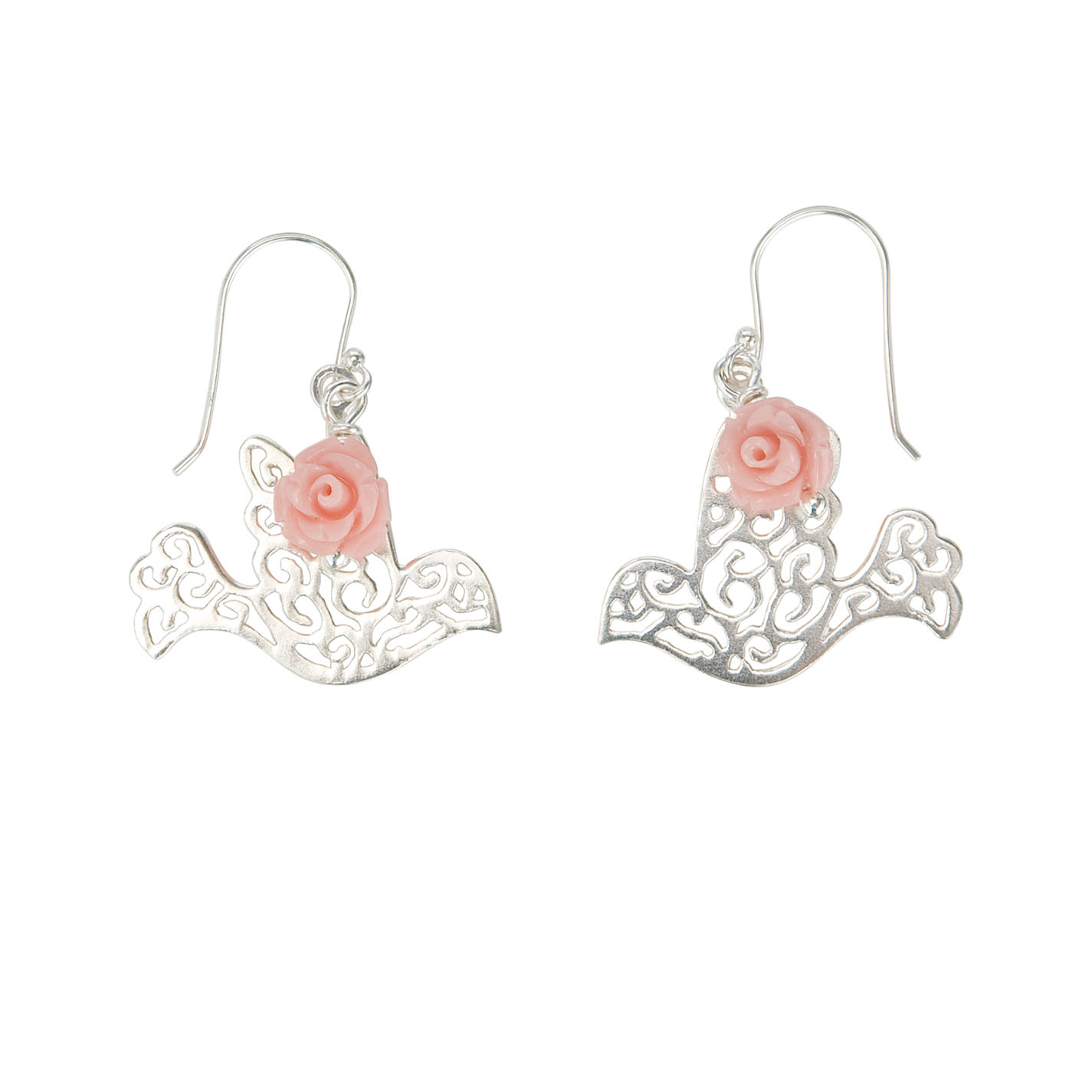Buy Martick Scroll Dove & Rose Earrings, Silver/Pink | John Lewis