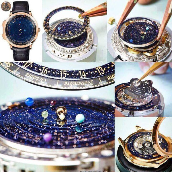 jewels watch galaxy print planets stars