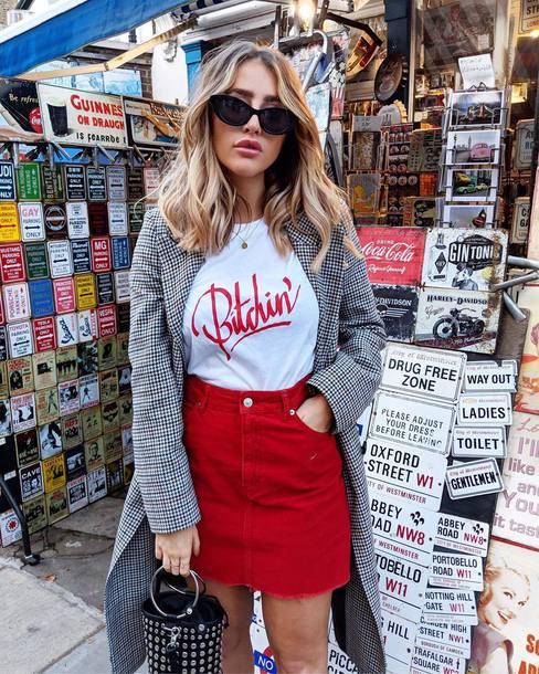 t-shirt tumblr white t-shirt coat grey coat skirt mini skirt red skirt sunglasses bag handbag