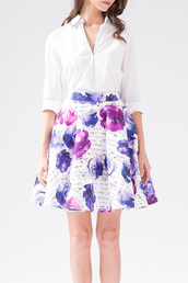 skirt,floral,summer,spring,purple,midi skirt,cute,girly,fashion,dezzal