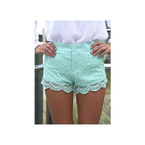 Mint Paisley Lace Overlay Shorts with Crochet Trim - Polyvore