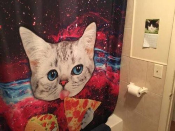 Home Accessory Shower Curtain Cats Space Pizza Cat Decor Furniture