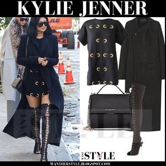 coat black black coat kylie jenner kardashians kim kardashian khloe kardashian kendall jenner all black everything long coat sunglasses