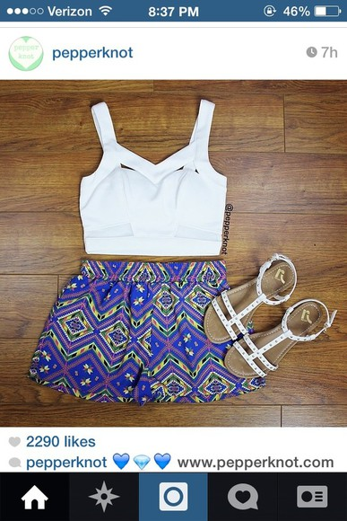pattern blue shoes shirt summer shorts