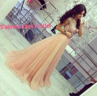 dress chiffon arabic fashion wedding dress gown sequin pink champagne amazing lovely classy