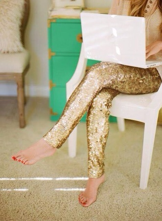 pants gold sequins gold glitter sequin pants sequins leggings