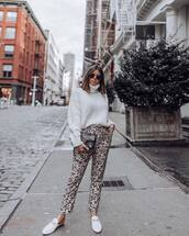 pants,leopard print,white shoes,flats,gucci bag,black bag,white sweater,turtleneck sweater