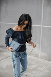 top,tumblr,ruffle,ruffled top,long sleeves,denim,jeans,blue jeans,embroidered,embroidered jeans,bag,blue bag,ysl,ysl bag,chain bag,off the shoulder,off the shoulder top,sunglasses,aviator sunglasses,blue top