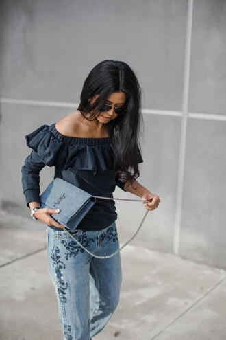 top tumblr ruffle ruffled top long sleeves denim jeans blue jeans embroidered embroidered jeans bag blue bag ysl ysl bag chain bag off the shoulder off the shoulder top sunglasses aviator sunglasses blue top