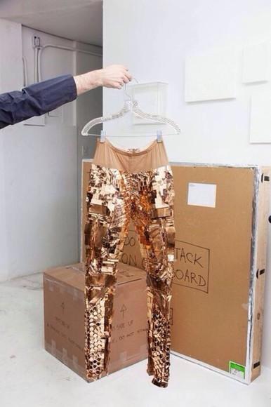 gold sequins leggings sweatpants copper sequins